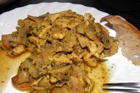 kurczak z pieczarkami i curry