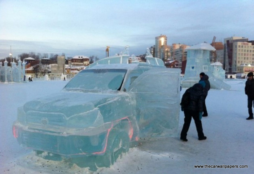 Toyota Land Cruiser SUV Carved Out Of Ice