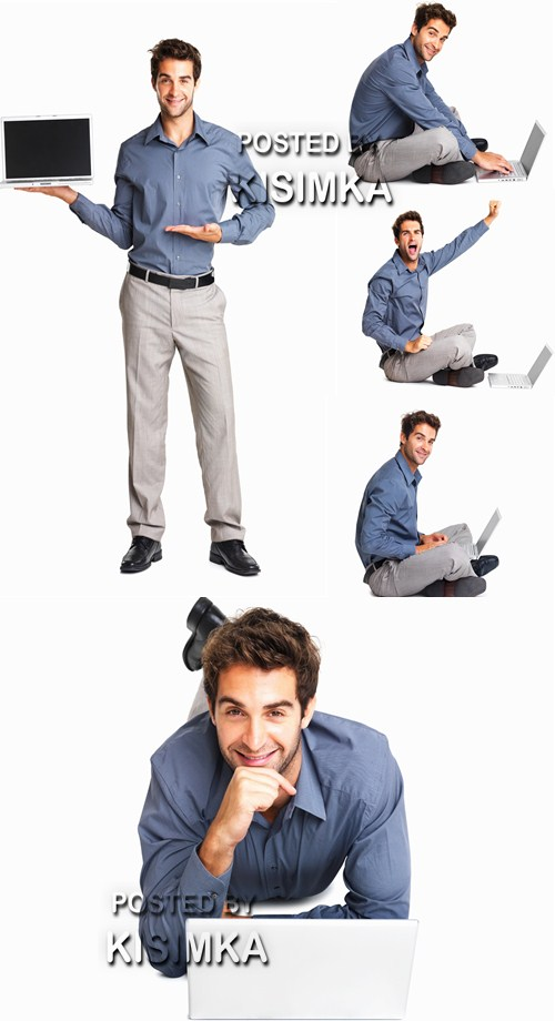 Stock Photo: Business man and laptop
