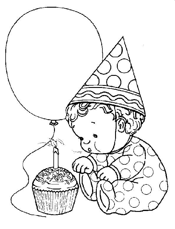 Pinto Dibujos: Bebé primer cumpleaños para colorear