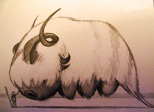 A brown-and-cream line drawing of a sky bison with a smaller tail and more pronounced horns than the Appa in the show