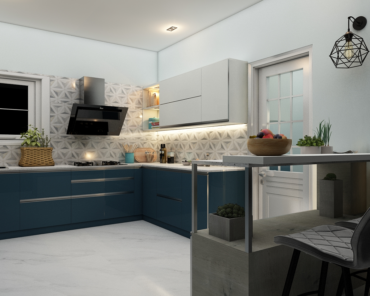 L-shaped kitchen layout design