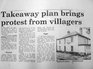 Nespaper cutting about conversion of Chequers pub into Chinese takeaway, Church Street, Little Shelford