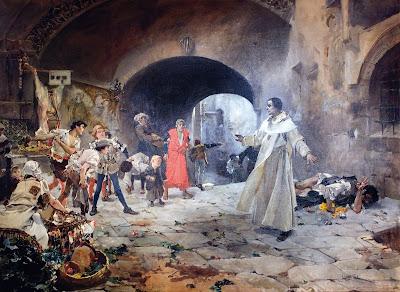 Padre El Padre Jofré protegiendo a un loco. Pintado por Joaquín Sorolla en 1887