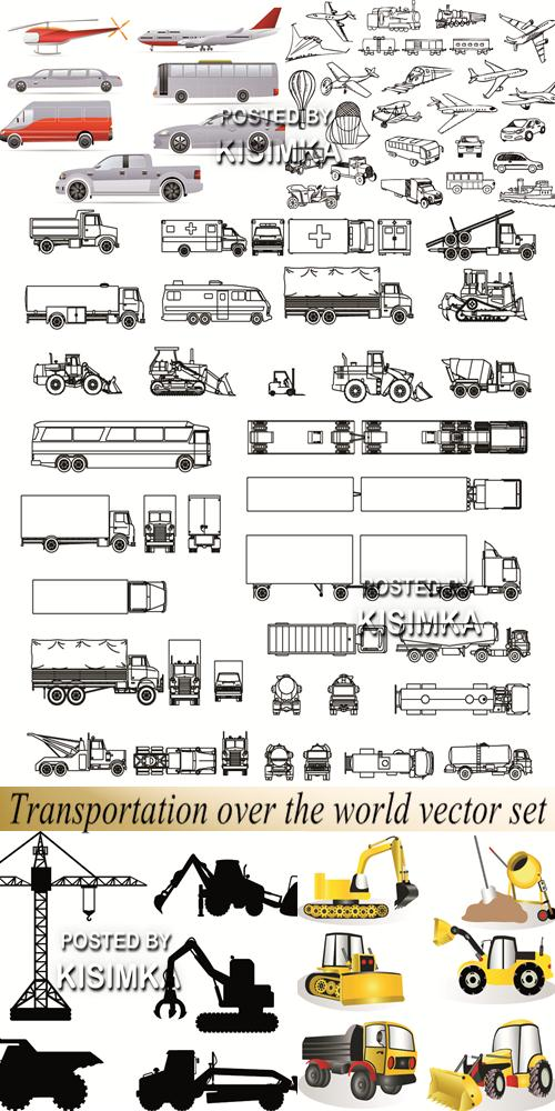 Stock: Transportation over the world vector set