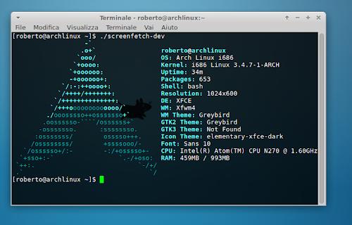 Screenfetch su Arch Linux