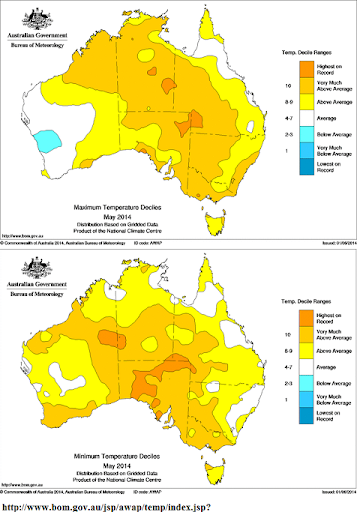May 2014 Temp' anomlay Australia