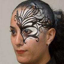 Máscara de carnaval lateral maquiada