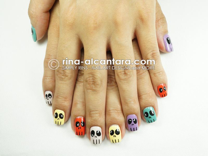 Skull Skittles Halloween Nail Art Design