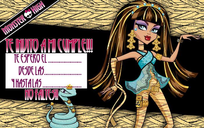 Invitación cumpleaños Monster High
