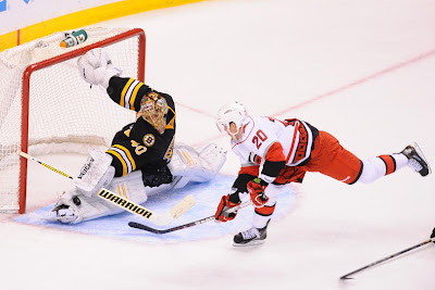 Tuukka Rask makes save against the Carolina Hurricanes