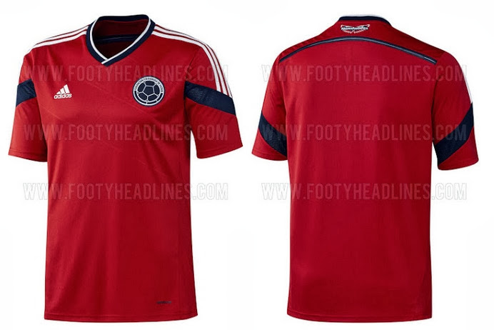 Colombia 2014 World Cup Away Kit official release The away kit will be in  Red colour with same blue colour application across the shirt. 772afcdb6