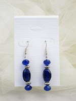 Contemplation' earrings - Blue glass beads, crystals, & silver plated spacers  $10