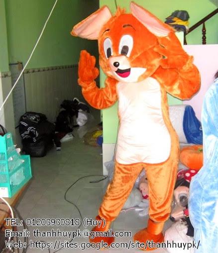 quần áo mascot chon chuột jerry trong phim hoạt hình trên ti vi