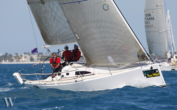 J/111 sailing the PHRF A diviions at Key West- Warlock from Newfoundland