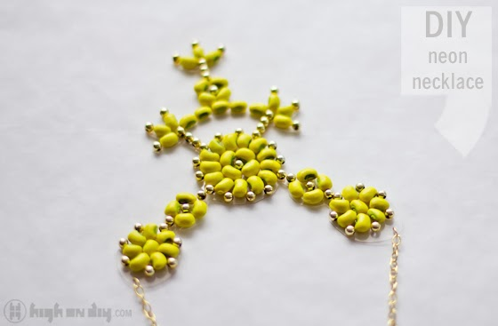 Neon Bean Necklace by High on DIY