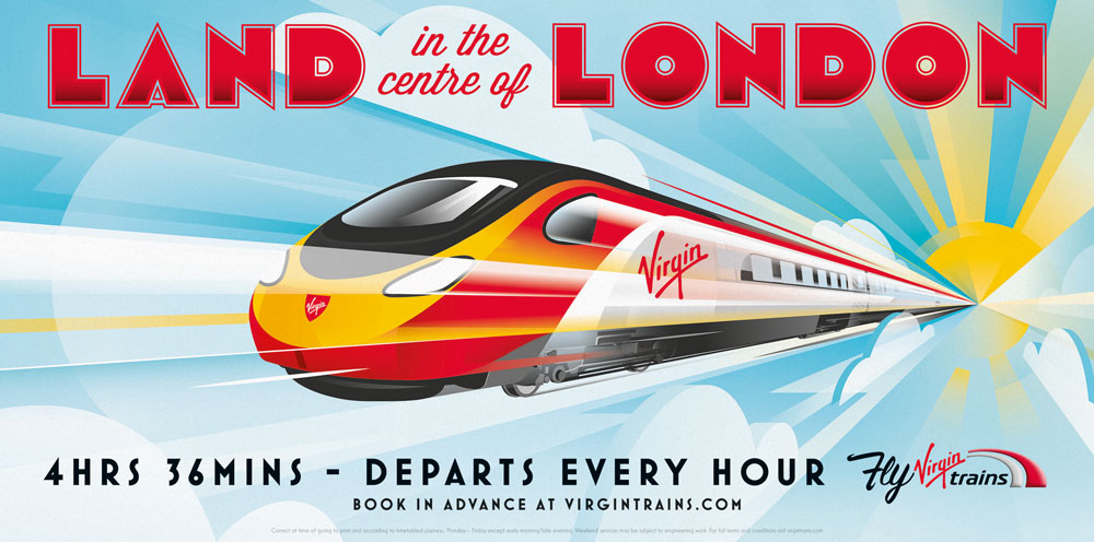 "Modern Retro Inspired Print Ads ""Fly Virgin Trains"""