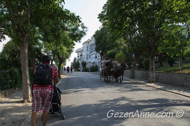 Heybeliada'da Çam Limanı plajına giderken