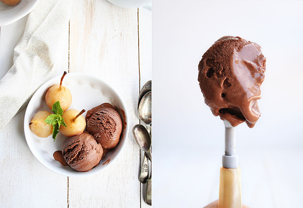 Helado cremoso de chocolate