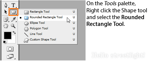 Switch to the Rounded Rectangle tool (U).
