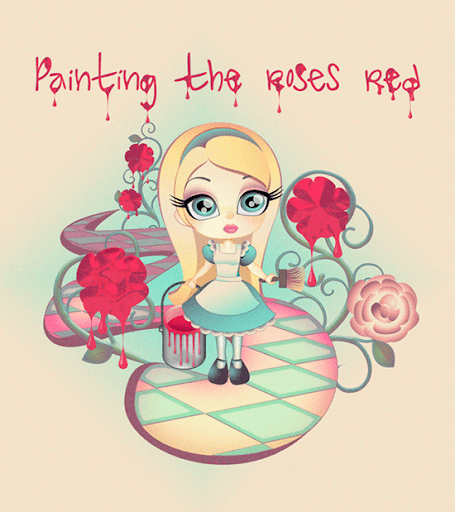 Painting the Roses Red Vector Illustration