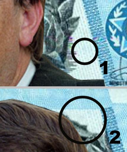 Detalhe da reprodução de texturas do lado direito da nota