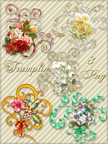 Клипарт в  Png  – Завитушки с цветами и бантами