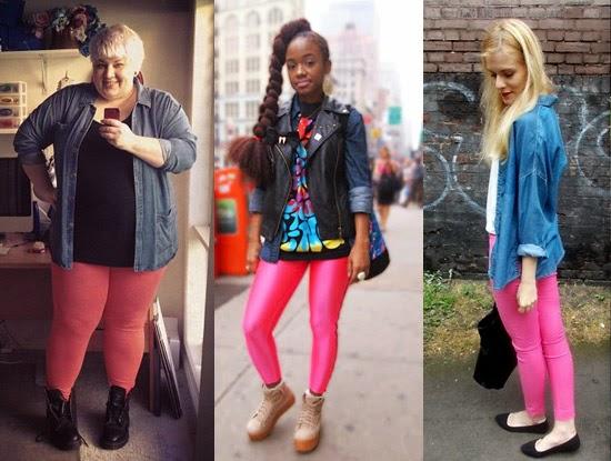 Como usar legging rosa com camisa jeans