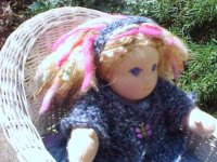"Little Amanda - 10"" Button Jointed Doll, with Mixed Yarn Hair and Hand knit Sweater"