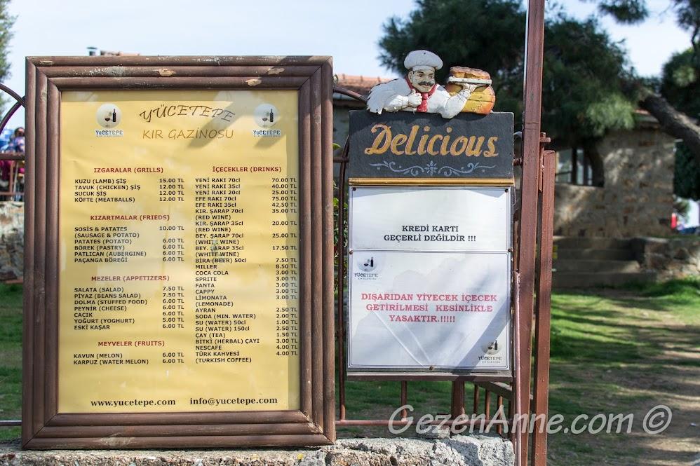 Yücetepe lokantası menüsü, Aya Yorgi tepesi Büyükada