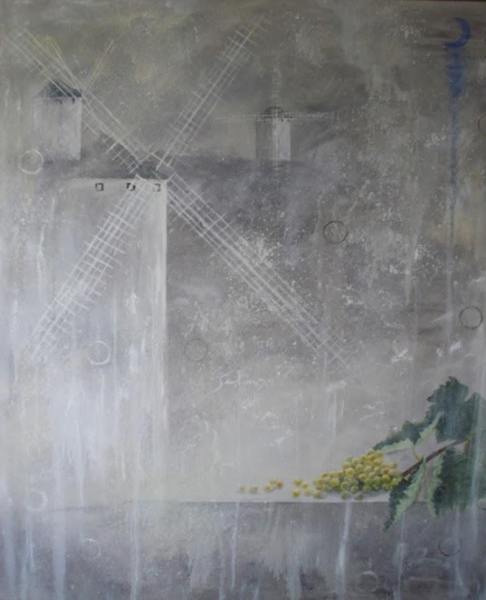 Santiago Garci pintura,Molinos en la noche II en óleo