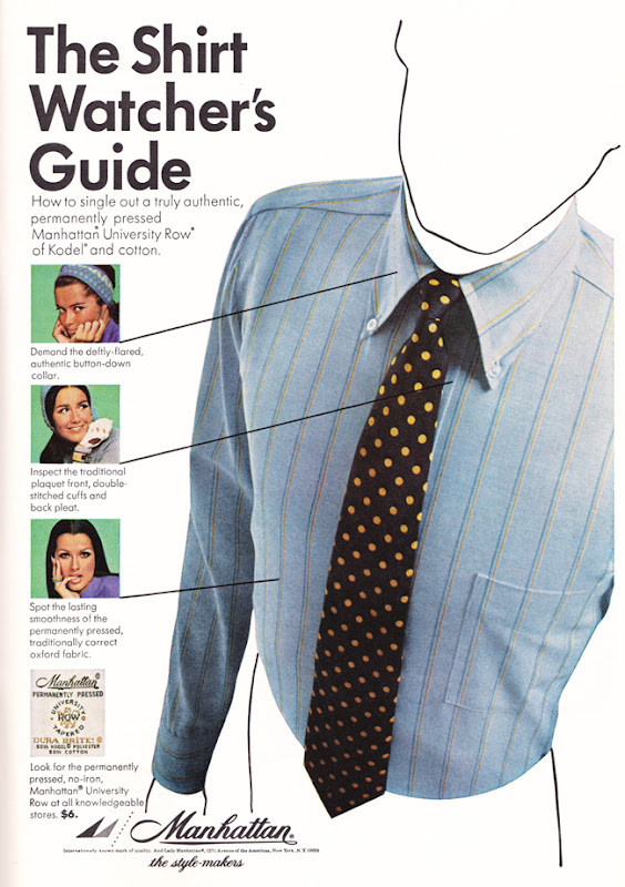 Publicité vintage : The shirt watcher's guide - Pour vous Madame, pour vous Monsieur, des publicités, illustrations et rédactionnels choisis avec amour dans des publications des années 50, 60 et 70. Popcards Factory vous offre des divertissements de qualité. Vous pouvez également nous retrouver sur www.popcards.fr et www.filmfix.fr   - For you Madame, for you Sir, advertising, illustrations and editorials lovingly selected in publications from the fourties, the sixties and the seventies. Popcards Factory offers quality entertainment. You may also find us on www.popcards.fr and www.filmfix.fr