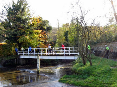 crossing footbridge at ford