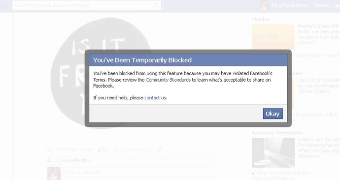Facebook Temporarily Blocked Me from Like-ing and