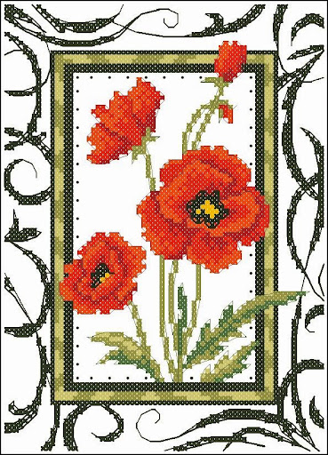 Blooming poppiescross stitch pattern