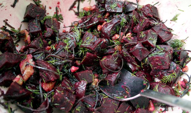 ... , go green: recipe: beet salad with lemon, dill, walnuts, and arame