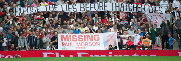Liverpool supporters call for full disclosure of the Hillsborough files 'Expose the lies before Thatcher dies' during the Premiership match against Arsenal at the Emirates Stadium. (Pic by David Rawcliffe/Propaganda)