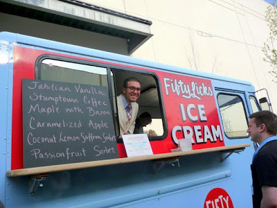 The best dressed ice cream man I've ever seen... Chad Draizin of Fifty Licks and his ice cream truck