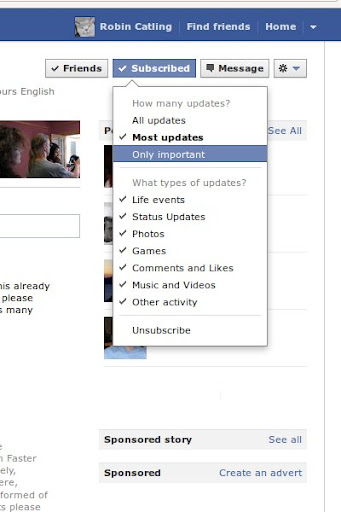 Personalise Facebook Subscriptions