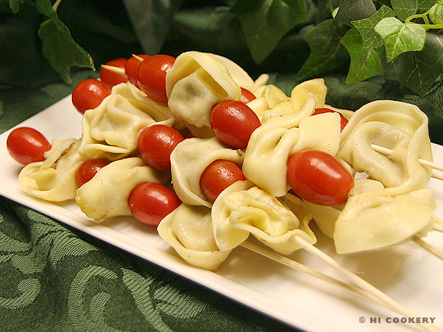 Tortellini and Tomato Skewers