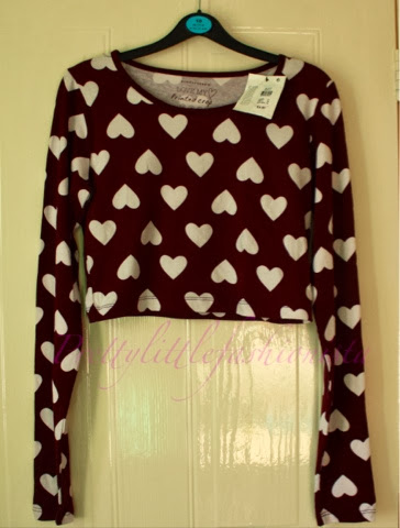 Burgundy heart crop top Primark