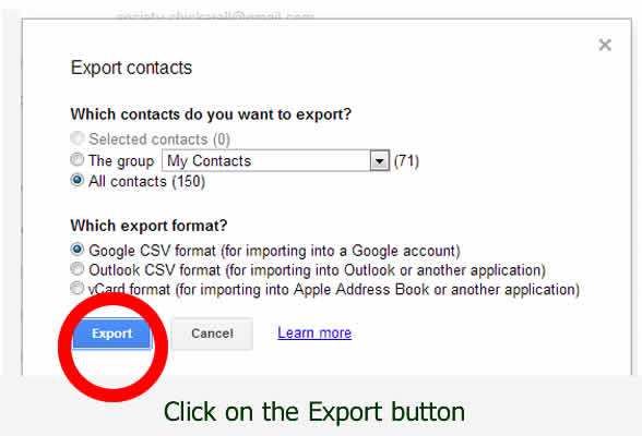 Export Google CSV file to your computer - by dorsetdog.com