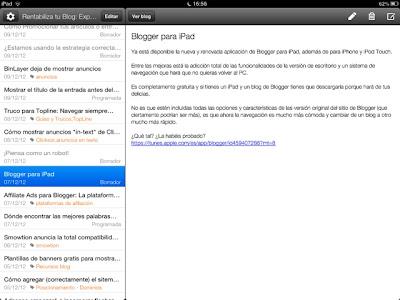 Captura de imagen de Blogger para iPad