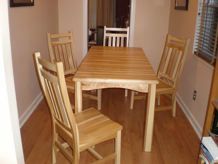 60 x 36 Custom Table and Trestle Chairs in Natural Hickory