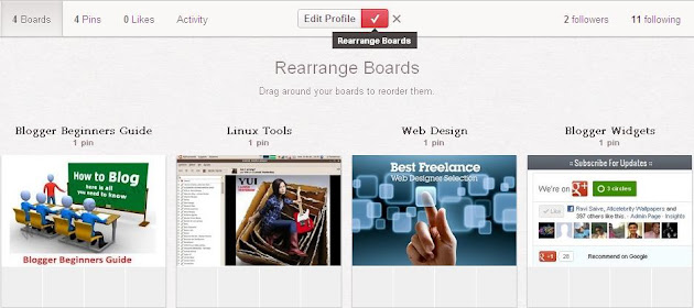 Rearranging Boards in Pinterest