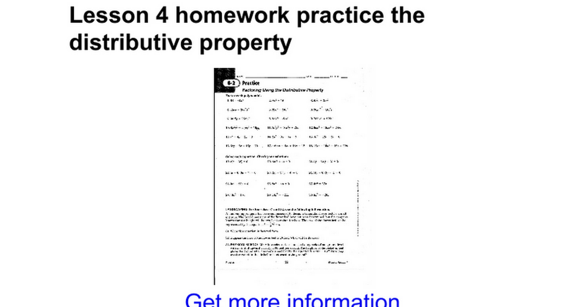 Lesson 4 homework practice the distributive property Google Docs – Distributive Property Practice Worksheet