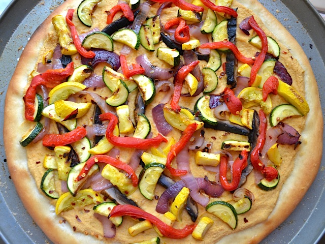 hummus grilled vegetable pizza