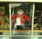 Paddington bear in shop window, looking like he's been breathing on the glass overnight