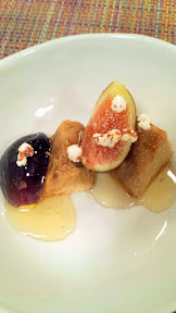 Nodoguro PDX September 2014, theme dinner Totoro. Tenth Course: Acorn, Figs, and honey from Bee Local, and some popped soba