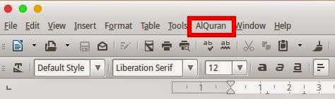 Menu LibreOffice Writer